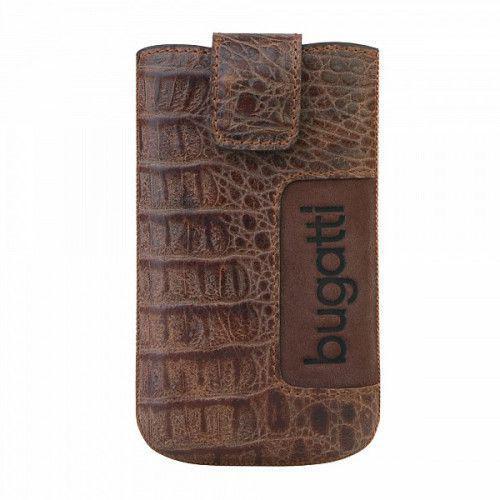 Θήκη Bugatti Slimcase Leather Croco Light Brown Size Medium για Xperia E ,iPhone 4S,Galaxy S III mini,