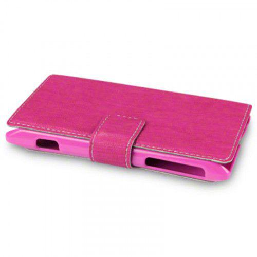 Sony Xperia E Low Profile Wallet PU Leather Case Pink