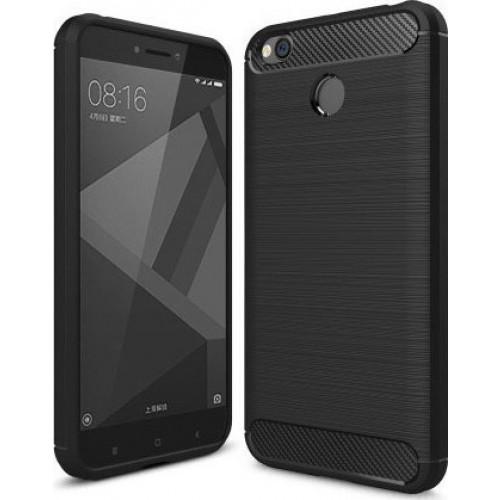 Θήκη OEM Brushed Carbon Case Flexible Cover TPU Case for Xiaomi Redmi 4X μαύρου χρώματος
