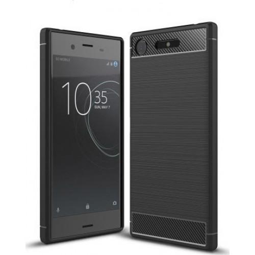 Θήκη OEM Brushed Carbon Flexible Cover TPU  for Sony Xperia XZ1 μαύρου χρώματος