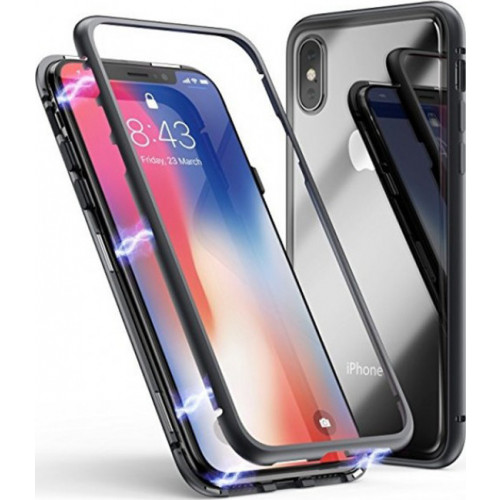 Magnetic Case OEM Full Body Front and Back Cover for iPhone XS / X black-transparent