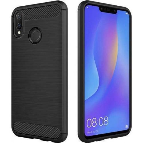 Θήκη OEM Brushed Carbon Flexible Cover TPU για Huawei P Smart Plus + μαύρου χρώματος
