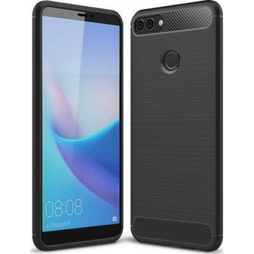 Θήκη OEM Brushed Carbon Flexible Cover TPU για Huawei Y9 2018 μαύρου χρώματος