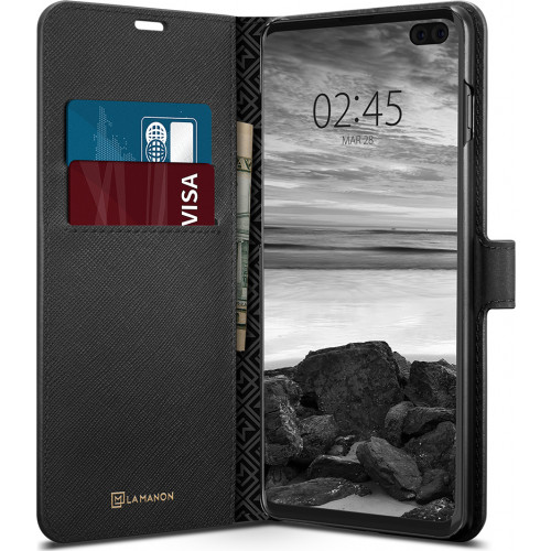 Spigen La Manon Wallet Saffiano Samsung Galaxy S10 Plus G975 Case Black 606CS25784