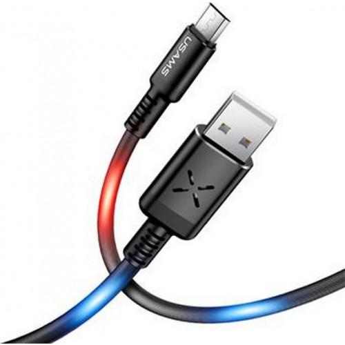 Usams SJ288 Data Cable microUSB Voice Control LED Black