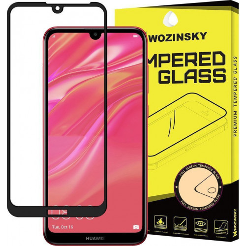 Wozinsky Tempered Glass Full Glue Super Tough Full Coveraged with Frame Case Friendly for Huawei Y5 2019 black