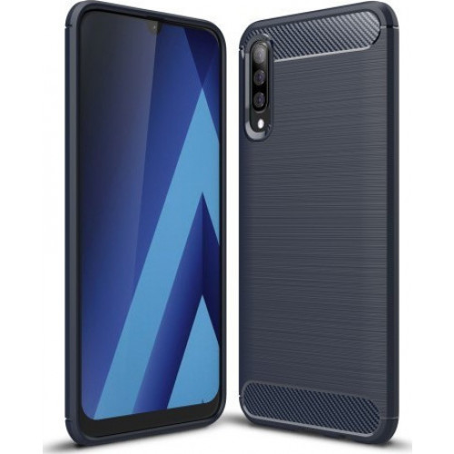 Θήκη OEM Brushed Carbon Flexible Cover TPU για Samsung Galaxy A70 μπλε χρώματος
