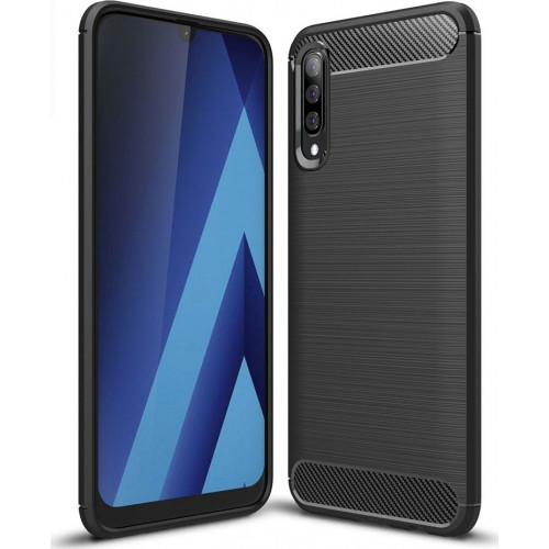 Θήκη OEM Brushed Carbon Flexible Cover TPU για Samsung Galaxy A70 μαύρου χρώματος