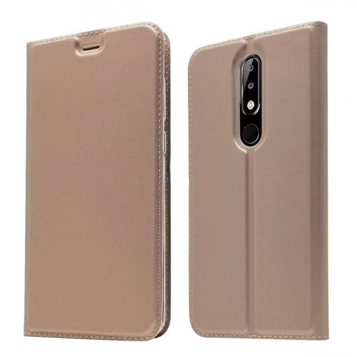 Θήκη OEM Flip Cover για Nokia 5.1 Plus with magnetic closure ( θήκη για κάρτα , stand ) rose gold