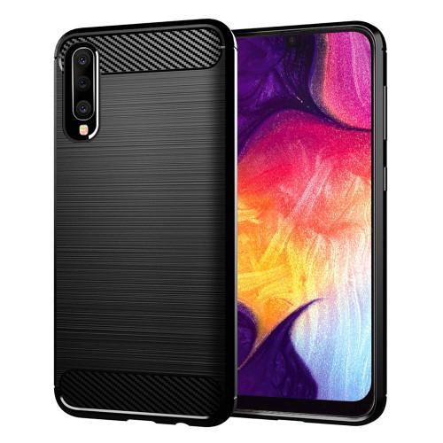 Θήκη OEM Brushed Carbon Flexible Cover TPU για Samsung Galaxy A50 μαύρου χρώματος