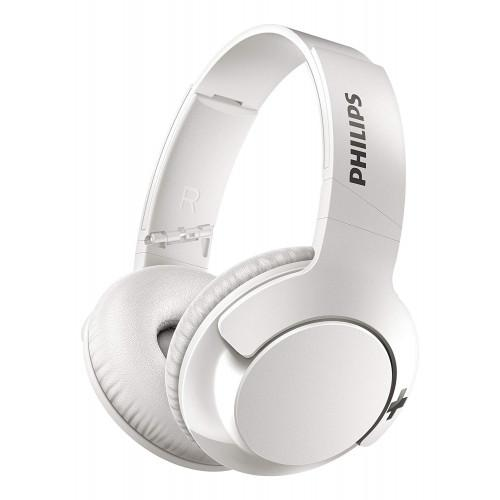 Philips SHB3175WT Bass+ Bluetooth Headphones, Wireless with Mic, Noise Isolating, Foldable, 13 Hours Playback - White