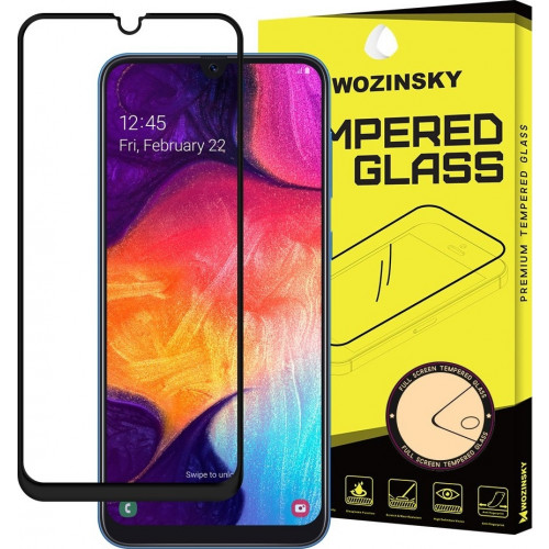 Wozinsky Tempered Glass Full Glue Super Tough Full Coveraged with Frame Case Friendly for Samsung Galaxy A40 black