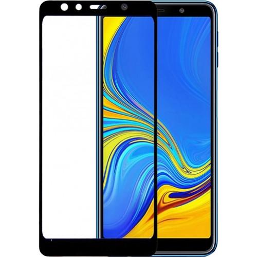 Tempered Glass (άθραυστο ) 9H 5D full glue για Samsung Galaxy A7 2018 πλήρους κάλυψης -  full face black