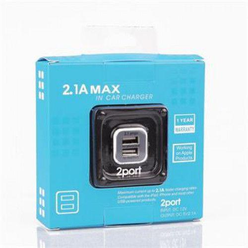 Car Adapter Dual USB 2.1 A white