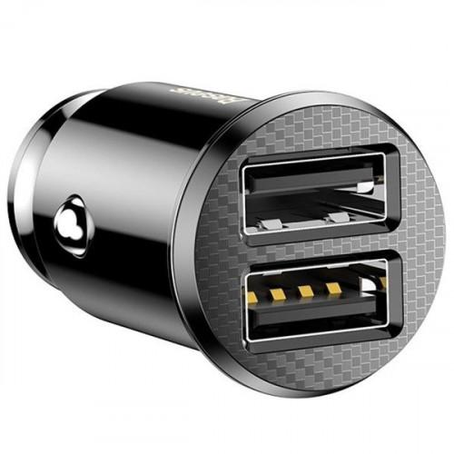 Baseus Grain Φορτιστής αυτοκινήτου με 2 θύρες USB 5V 3.1A μαύρου χρώματος