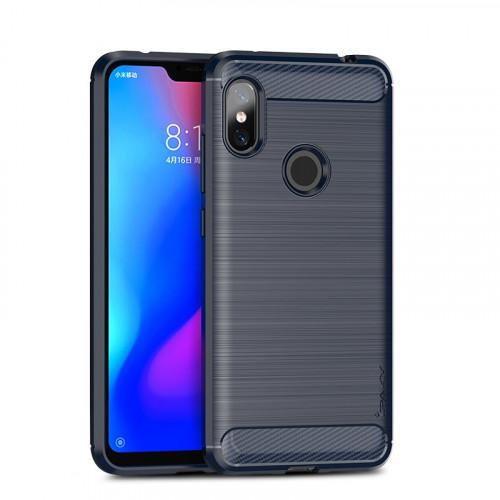 iPaky Slim Carbon Flexible Cover TPU Case for Xiaomi Redmi Note 6 Pro blue