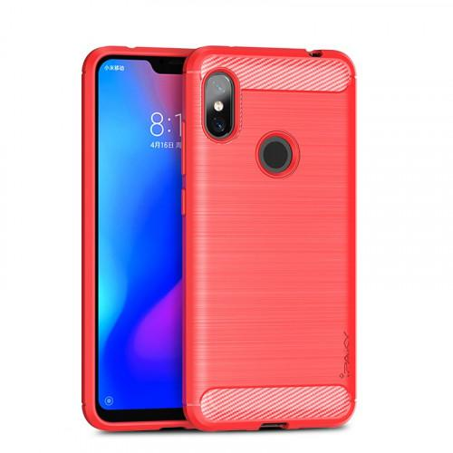 iPaky Slim Carbon Flexible Cover TPU Case for Xiaomi Redmi Note 6 Pro red