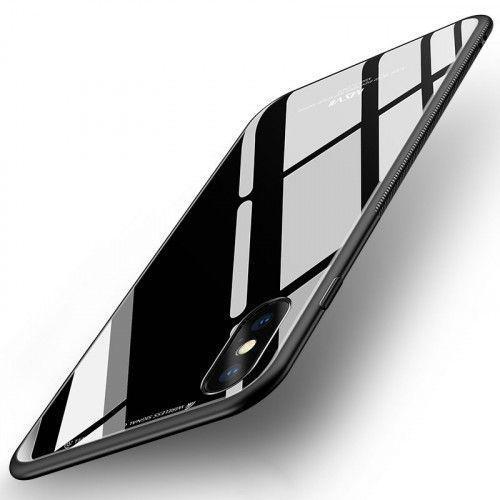 Θήκη MSVII Tempered Glass Case Durable Cover with Tempered Glass Back για iPhone X / iPhone XS black