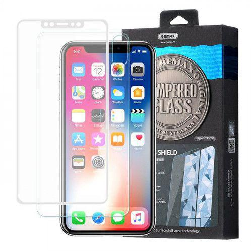 Remax Caesar 3D Tempered Glass Full Coveraged with Frame white + Back Protector for iPhone XS / iPhone X clear
