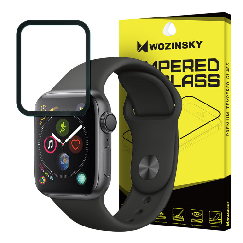 Wozinsky Tempered Glass Full Glue Full Coveraged with Frame Case Friendly for Apple Watch 4 44mm black