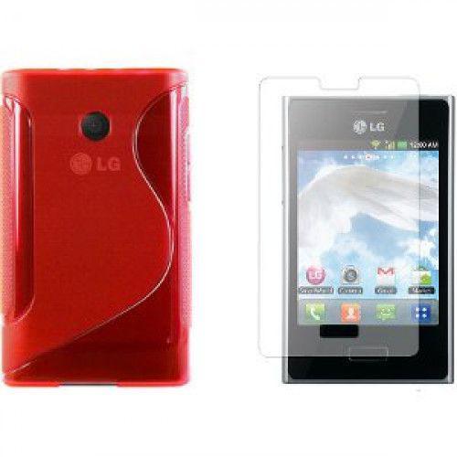 Θήκη Σιλικόνης για LG L3 E400 Red + Φιλμ Προστασίας Οθόνης