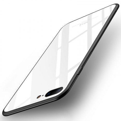 Θήκη MSVII Tempered Glass Case Durable Cover with Tempered Glass Back για iPhone 7 PLUS / iPhone 8 PLUS white