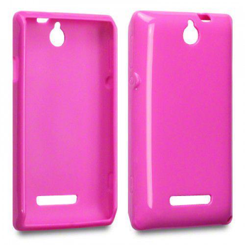 Θήκη TPU Gel για Sony Xperia E C1505 hot pink + Φιλμ Προστασίας Οθόνης