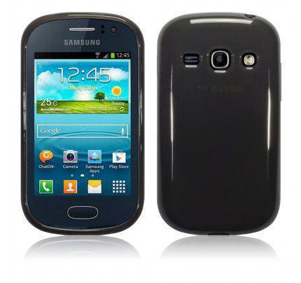 Θήκη TPU Gel για Samsung Galaxy Fame S6810 Smoke Black+Φιλμ Προστασίας Οθόνης