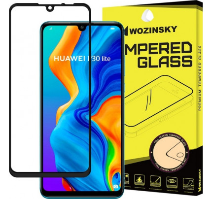Wozinsky Tempered Glass Full Glue Super Tough Full Coveraged with Frame Case Friendly for Huawei P30 Lite black
