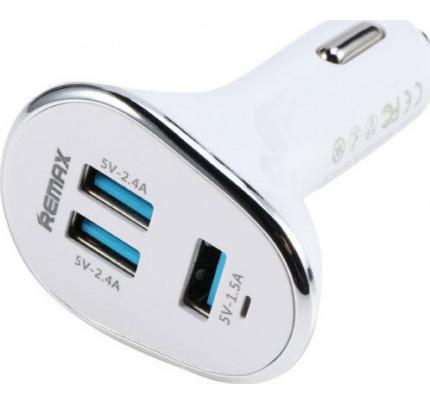 Φορτιστής αυτοκινήτου Remax RCC302 6.3A 3X USB λευκού χρώματος