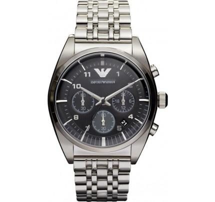 Emporio Armani Chrono Black Dial Stainless Steel Bracelet AR0373