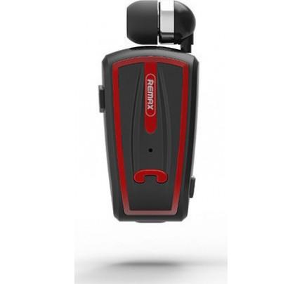 Remax RB-T12 Bluetooth Headset V4.0 Μονό Ακουστικό με Καλώδιο ,Σύνδεση με 2 Συσκευές, Μαύρο-Κόκκινο
