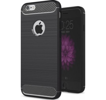 Θήκη OEM Brushed Carbon Flexible Cover TPU για iPhone 6 / iPhone 6s μαύρου χρώματος
