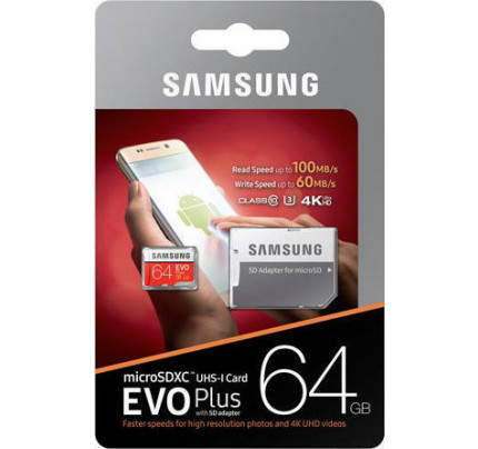 Samsung Evo Plus microSDXC 64GB U3 with Adapter MB-MC64GA/EU