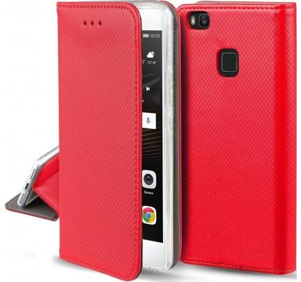 Θήκη OEM Smart Magnet για Huawei P8 Lite 2017 / P9 Lite 2017 κόκκινου χρώματος ( θήκη για κάρτα , stand )