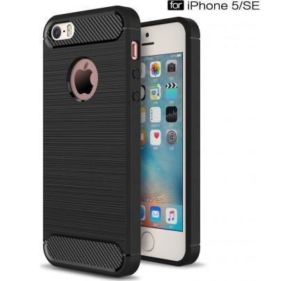 Θήκη OEM Brushed Carbon Flexible Cover TPU για iPhone 5 /5s μαύρου χρώματος