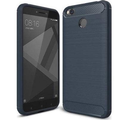 Θήκη OEM Brushed Carbon Case Flexible Cover TPU Case for Xiaomi Redmi 4X μπλε χρώματος