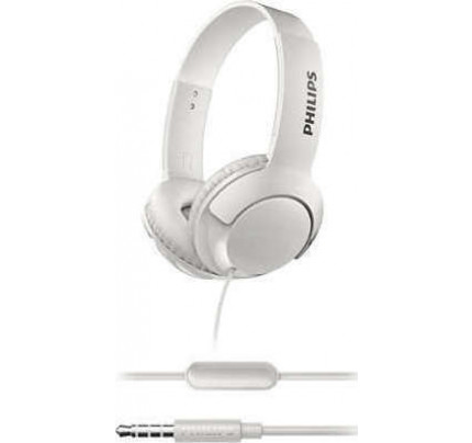 Philips Bass+ SHL3075WT Closed-Back Headphones with Mic White