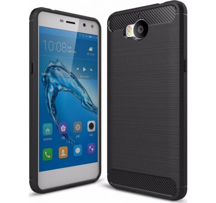 Θήκη OEM Brushed Carbon Case Flexible Cover TPU Case for Huawei Y6 2017 μαύρου χρώματος