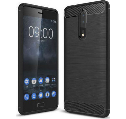 Θήκη OEM Brushed Carbon Case Flexible Cover TPU Case for Nokia 8 μαύρου χρώματος