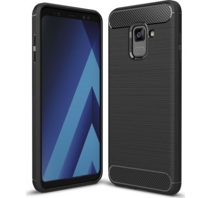 Θήκη OEM Brushed Carbon Flexible Cover TPU για Samsung Galaxy A8 2018 A530 μαύρου χρώματος