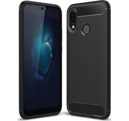 Θήκη OEM Brushed Carbon Flexible Cover TPU για Huawei P20 Lite μαύρου χρώματος