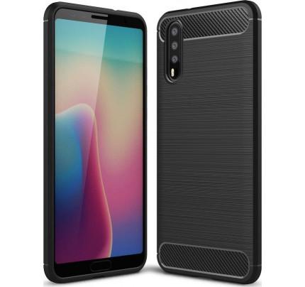 Θήκη OEM Brushed Carbon Flexible Cover TPU για Huawei P20 μαύρου χρώματος