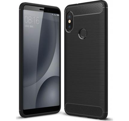 Θήκη OEM Brushed Carbon Flexible Cover TPU για Xiaomi Redmi Note 5 μαύρου χρώματος
