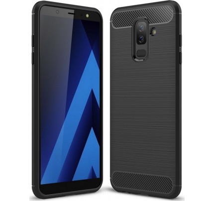 Θήκη OEM Brushed Carbon Flexible Cover TPU για Samsung Galaxy A6 PLUS 2018 A605 μαύρου χρώματος