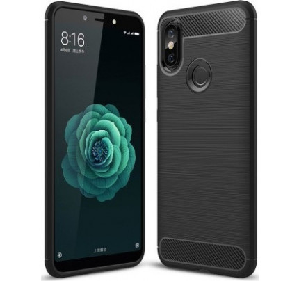 Θήκη OEM Brushed Carbon Flexible Cover TPU για Xiaomi Mi A2 / Mi 6X μαύρου χρώματος