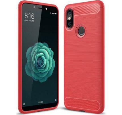 Θήκη OEM Brushed Carbon Flexible Cover TPU για Xiaomi Mi A2 / Mi 6X κόκκινου χρώματος