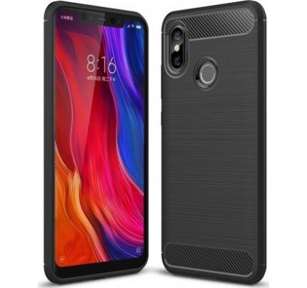 Θήκη OEM Brushed Carbon Flexible Cover TPU για Xiaomi Mi 8 μαύρου χρώματος