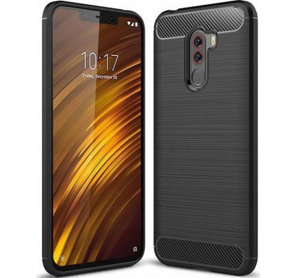 Θήκη OEM Brushed Carbon Flexible Cover TPU για Xiaomi Pocophone F1 μαύρου χρώματος