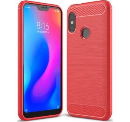 Θήκη OEM Brushed Carbon Flexible Cover TPU για Xiaomi Mi A2 LITE κόκκινου χρώματος